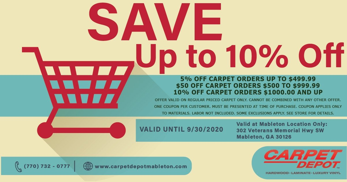 September 2020 Carpet Coupon Mableton