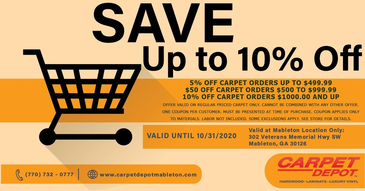 October 2020 Carpet Coupon Mableton